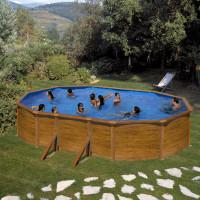 Piscina desmontable Gre Sicilia ovalada imitación madera
